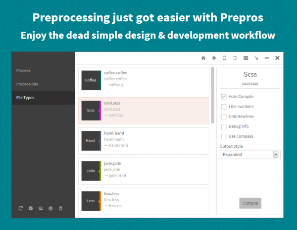 Prepros    Compile Sass  less or any preprocessing language