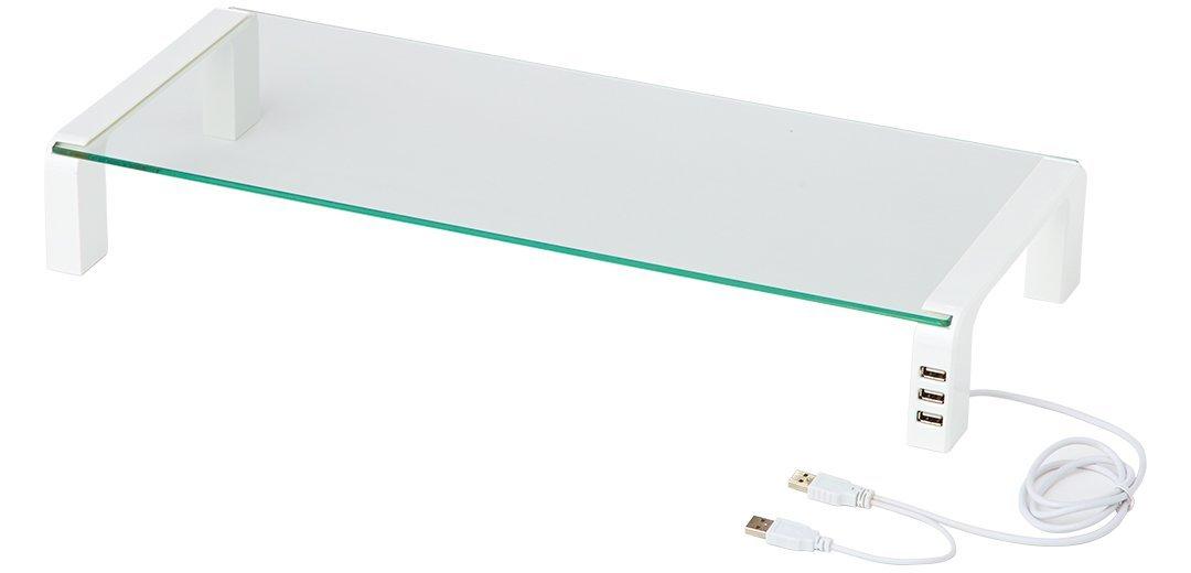 キングジム キーボードトレイ デスクボードUSBハブ付き ガラス天板 THDBU-20W